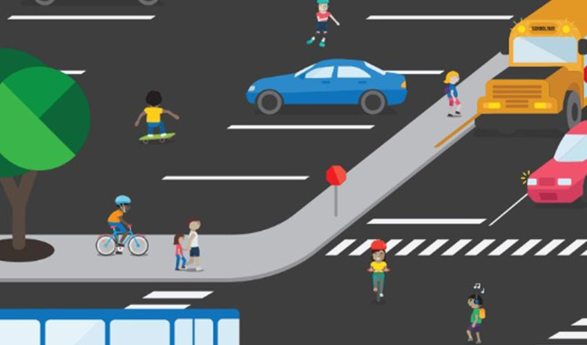 A cartoon illustration of a busy intersection.
