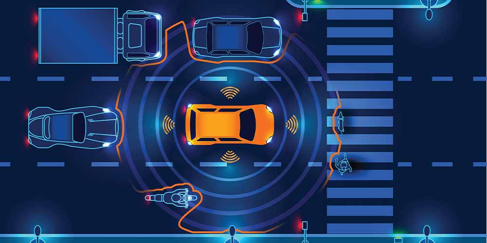 An illustration shows the overhead view of a car on the road and the range of its sensors