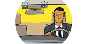 Illustration of a man in a suit behind a driving wheel with safety features by the rearview mirror