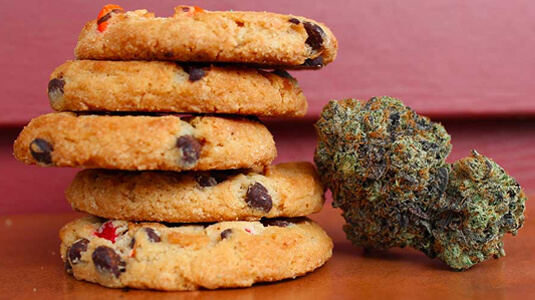 A stack of cannabis cookies
