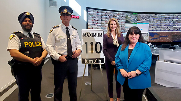 CAA with the Hon. Caroline Mulroney (Ontario's Minister of Transportation) announcing the start of a two-year pilot where the speed limit on three stretches of highway will increase to 110 km/h.