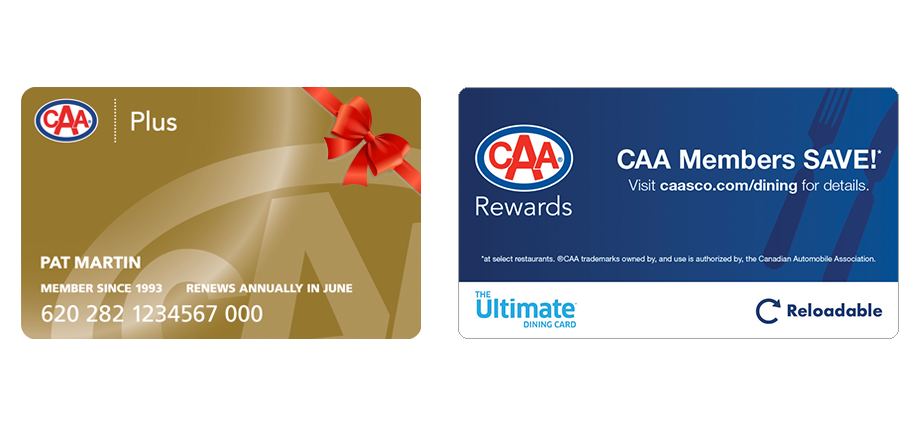 CAA Plus Membership card and Ultimate Dining Card